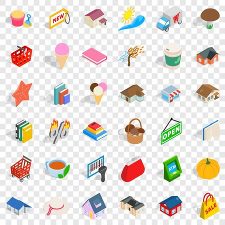 Home icons set, isometric style