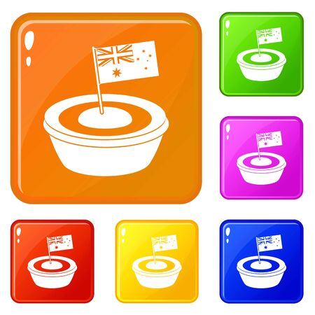 Little flag icons set vector color