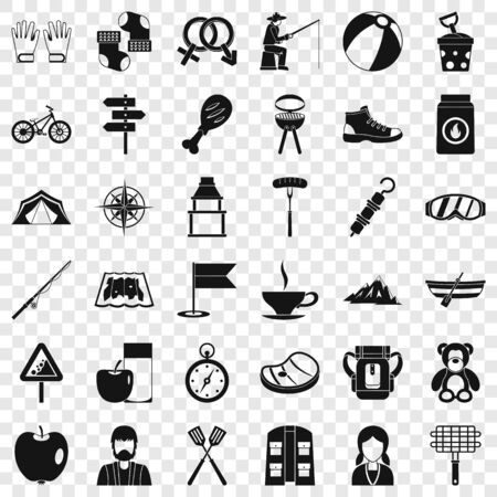Hiking icons set, simple style Stock Illustratie