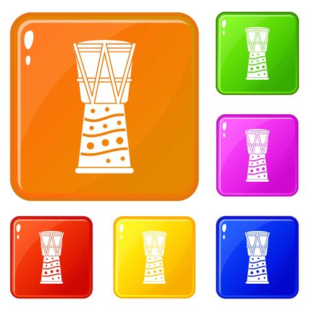 Tamtam icons set vector color