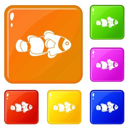 Fish clown icons set vector color