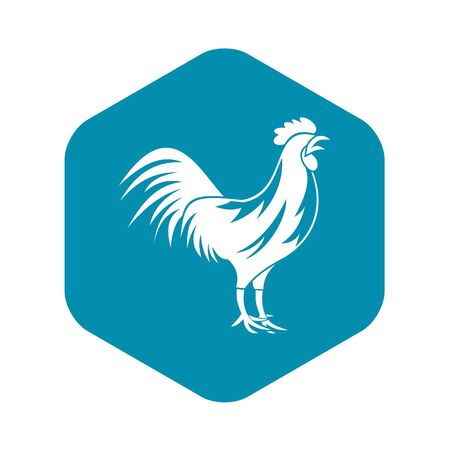 Gallic rooster icon, simple style