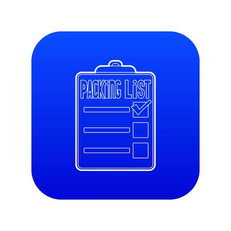 Packing list icon blue vector isolated on white background