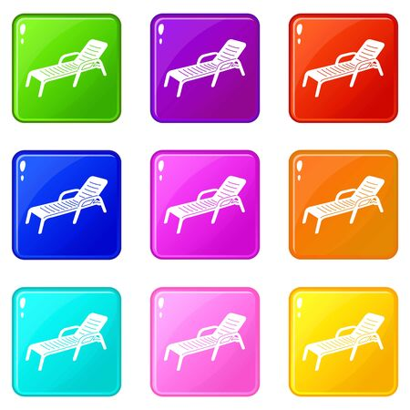 Chaise icons set 9 color collection isolated on white for any design  イラスト・ベクター素材