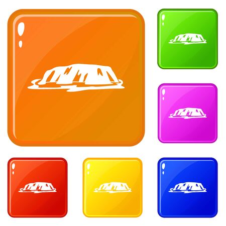 Cliff icons set vector color