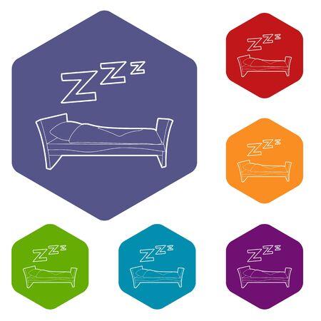Bed icon. Outline illustration of bed vector icon for web Ilustración de vector