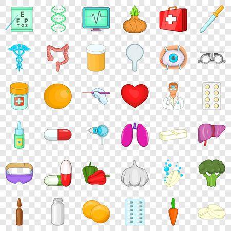 Human health icons set, cartoon style Ilustração