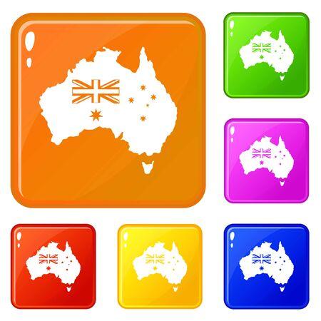 Australia icons set vector color