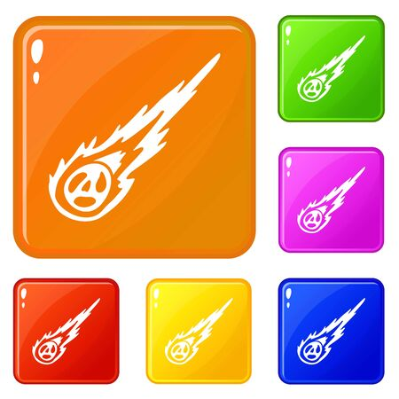 Meteorite icons set vector color