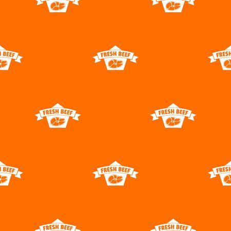 Fresh eco beef pattern vector orange