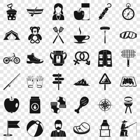 Walking icons set, simple style