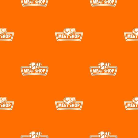 Meat shop pattern vector orange Illustration