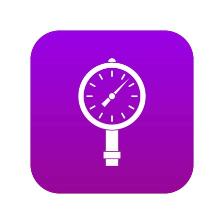 Manometer or pressure gauge icon digital purple