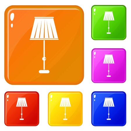 Floor lamp icons set vector color