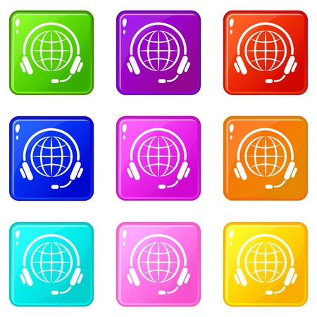 Consultation worldwide icons set 9 color collection isolated on white for any design