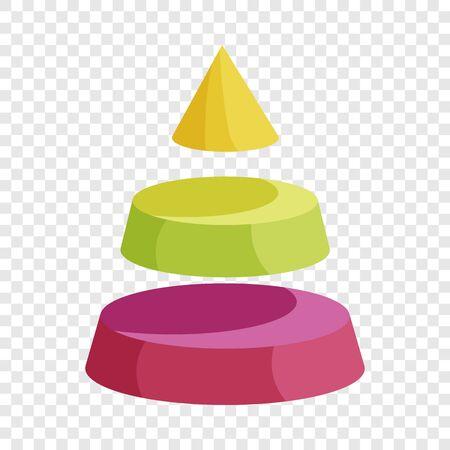 Pyramid divided into three segment layers icon