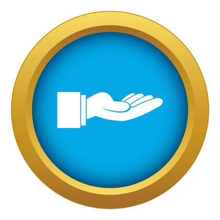 Outstretched hand gesture icon blue vector isolated on white background for any design Illustration