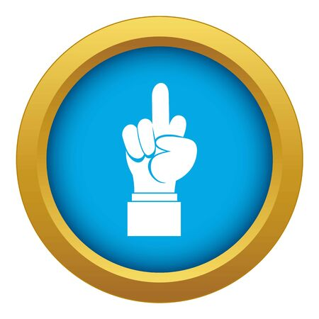 Middle finger hand sign icon blue vector isolated on white background for any design