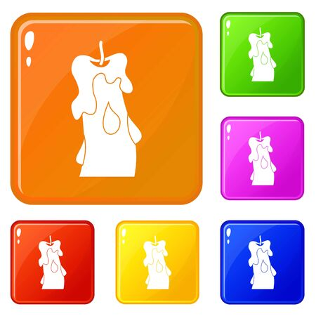 Candle icons set vector color Vettoriali