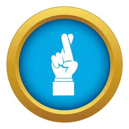 Fingers crossed icon blue vector isolated Foto de archivo - 129236952