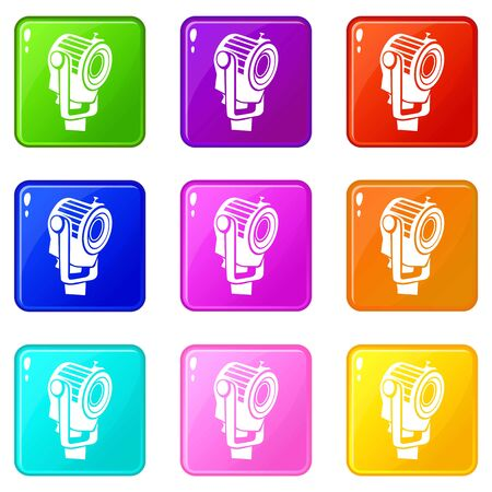 Floodlight icons set 9 color collection