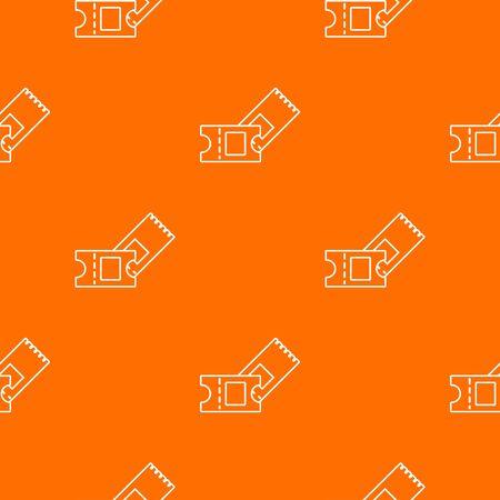 Ice hockey ticket pattern vector orange Stockfoto - 129237040