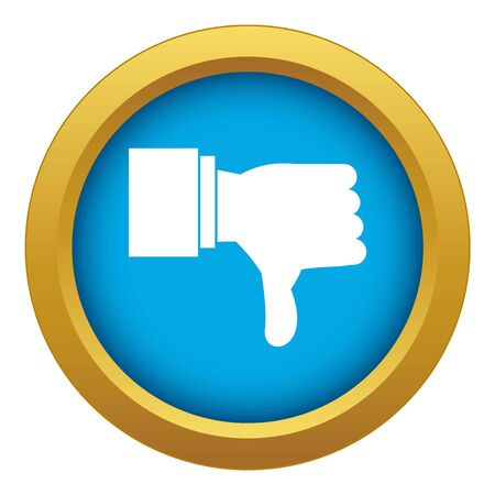 Thumb down gesture icon blue vector isolated