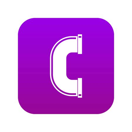 C joint pipe icon digital purple Stock Illustratie