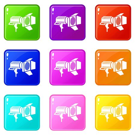 Spotlight icons set 9 color collection isolated on white for any design