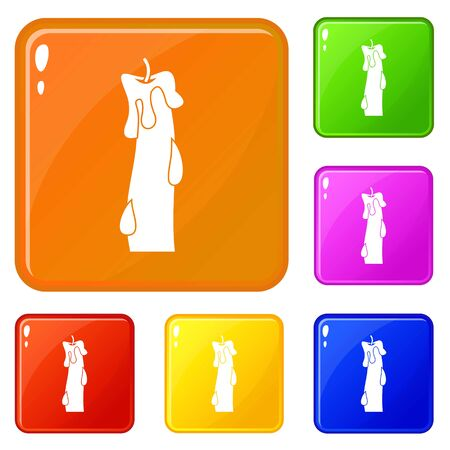 Waxy candle icons set vector color