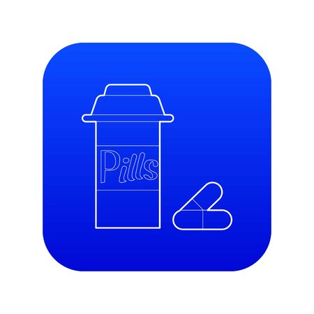 Pills in jar icon blue vector Ilustração