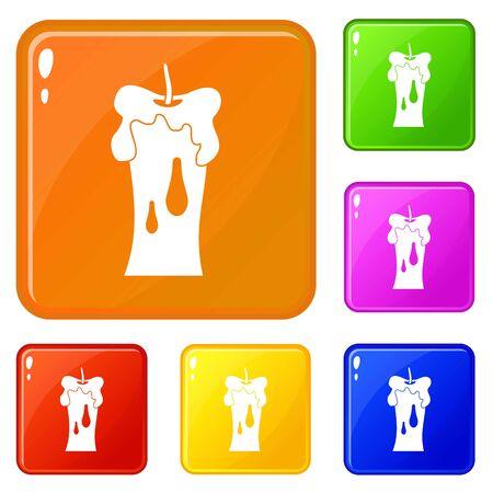 Waxen candle icons set vector color Vector Illustration