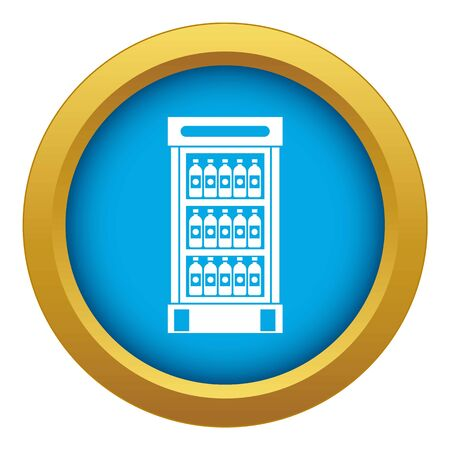 Fridge with refreshments drinks icon blue vector isolated on white background for any design