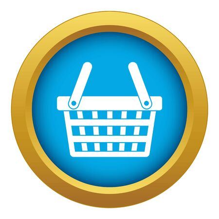 Shopping basket icon blue vector isolated on white background for any design Illustration