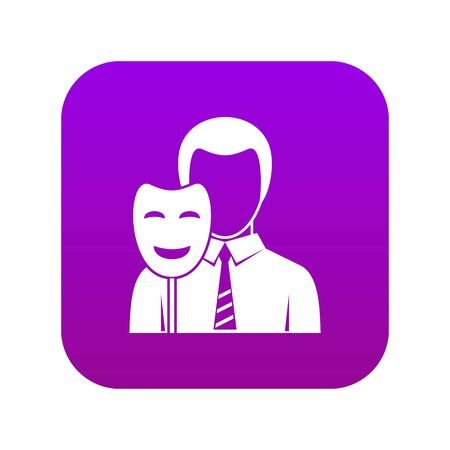 Businessman holding smile mask icon digital purple for any design isolated on white vector illustration