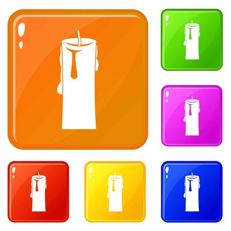 One candle icons set vector color
