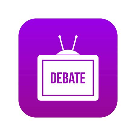 TV with the Debate inscription on the screen icon digital purple for any design isolated on white vector illustration 일러스트