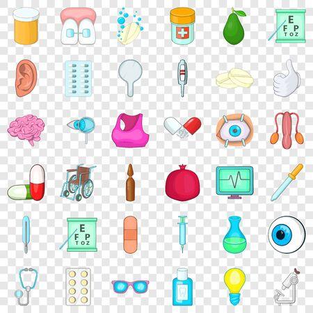 Syringe icons set, cartoon style