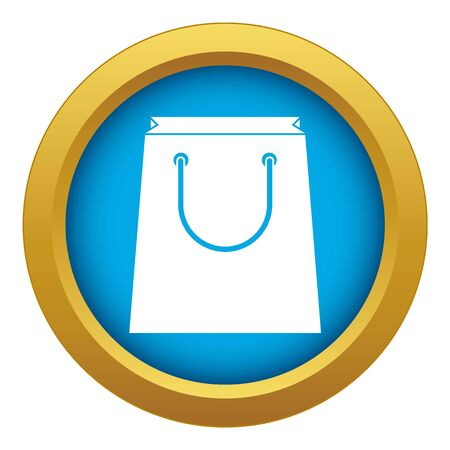 Paper shopping bag icon blue vector isolated on white background for any design