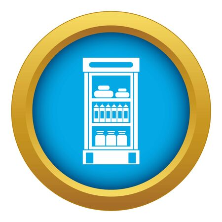 Products in the supermarket refrigerator icon blue vector isolated on white background for any design