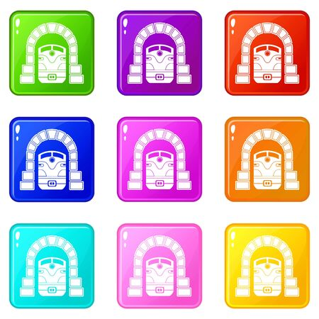 Train in tunnel icons set 9 color collection isolated on white for any design Illustration