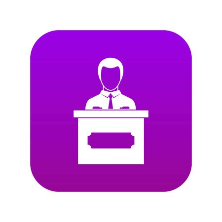 Businessman giving a presentation icon digital purple for any design isolated on white vector illustration
