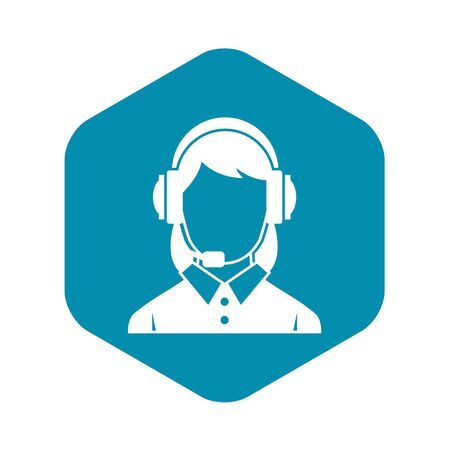 Business woman with headset icon. Simple illustration of business woman with headset vector icon for web Illustration