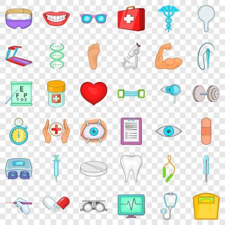 Medication icons set, cartoon style