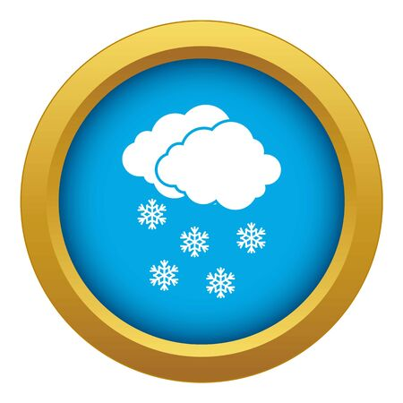 Cloud and snowflakes icon blue vector isolated on white background for any design