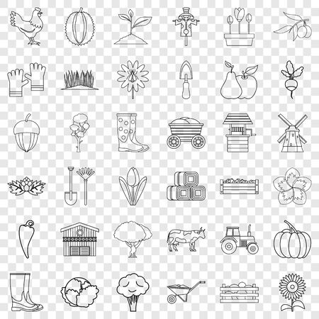Seed icons set, outline style Illustration