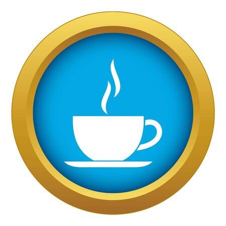 Cup of hot drink icon blue vector isolated on white background for any design Illustration