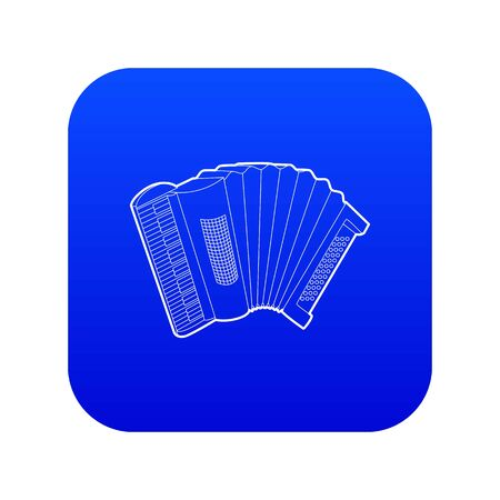Accordion icon blue vector