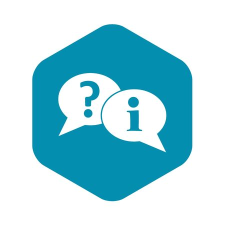 Question and exclamation speech bubbles icon. Simple illustration of question and exclamation speech bubbles vector icon for web