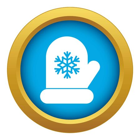 Mitten with white snowflake icon blue vector isolated on white background for any design Illusztráció